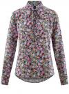 Блузка вискозная с завязками на воротнике oodji #SECTION_NAME# (разноцветный), 11411123/26346/6D41F