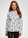 Блузка хлопковая с баской oodji #SECTION_NAME# (белый), 13K00001B/26357/1029F - вид 2