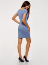 Платье из фактурной ткани с вырезом-лодочкой oodji #SECTION_NAME# (синий), 14001117-11B/45211/7500N - вид 3