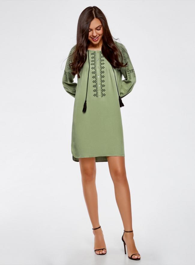 Платье вискозное с вышивкой и декоративными завязками oodji #SECTION_NAME# (зеленый), 21914003/33471/6200N