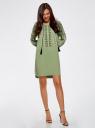Платье вискозное с вышивкой и декоративными завязками oodji для женщины (зеленый), 21914003/33471/6200N