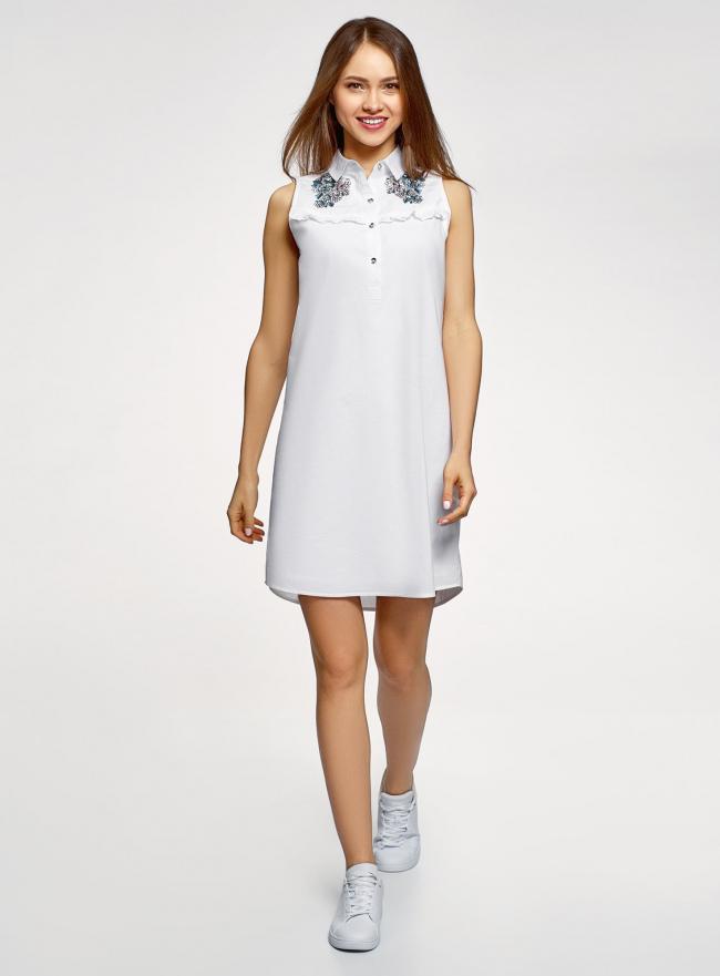 Платье хлопковое без рукавов oodji #SECTION_NAME# (белый), 11911027-2/13175N/1040P