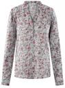 Блузка вискозная прямого силуэта oodji #SECTION_NAME# (синий), 21400394-1B/24681/7041F