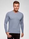 Пуловер базовый с V-образным вырезом oodji #SECTION_NAME# (синий), 4B212007M-1/34390N/7001M - вид 2
