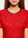 Платье приталенное кружевное oodji #SECTION_NAME# (красный), 11900213/45991/4500L - вид 4