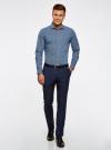 Рубашка приталенного силуэта принтованная oodji #SECTION_NAME# (синий), 3L110260M/19370N/1079G - вид 6