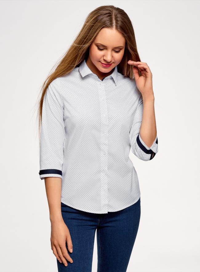Блузка хлопковая с рукавом 3/4 oodji для женщины (белый), 13K03005B/26357/1079D