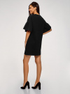 Платье прямого силуэта с воланами на рукавах oodji #SECTION_NAME# (черный), 14000172-1/48033/2912P - вид 3