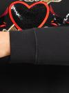 Свитшот с вышивкой и пайетками oodji #SECTION_NAME# (черный), 14801085/46155/2945P - вид 5
