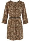 Платье вискозное с ремнем oodji #SECTION_NAME# (коричневый), 11900180B/48458/3729A