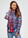 Куртка стеганая с принтом oodji #SECTION_NAME# (синий), 10203050-1M/42257/7545F - вид 2
