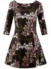 Платье трикотажное принтованное oodji #SECTION_NAME# (зеленый), 14001150-3/33038/254BF