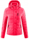 Куртка стеганая с капюшоном oodji #SECTION_NAME# (розовый), 10204053/47173/4D00N