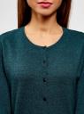Кардиган вязаный с круглым вырезом oodji для женщины (зеленый), 63212568-1B/46801/296CM