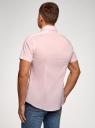 Рубашка базовая с коротким рукавом oodji #SECTION_NAME# (розовый), 3B240000M/34146N/4000N - вид 3