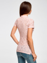 Поло из фактурной ткани с вышивкой oodji для женщины (розовый), 19301006/46656/4000O