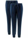 Брюки трикотажные (комплект из 2 пар) oodji для женщины (синий), 16701042T2/46919/7901N