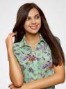 Блузка принтованная из легкой ткани oodji #SECTION_NAME# (зеленый), 21407022-9/12836/6580F - вид 4