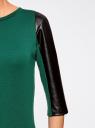 Платье с отделкой из искусственной кожи oodji для женщины (зеленый), 14001143-2/16564/6E29B