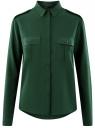 Блузка базовая из вискозы с нагрудными карманами oodji #SECTION_NAME# (зеленый), 11411127B/26346/6900N