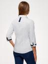 Блузка хлопковая с рукавом 3/4 oodji #SECTION_NAME# (белый), 13K03005B/26357/1079D - вид 3
