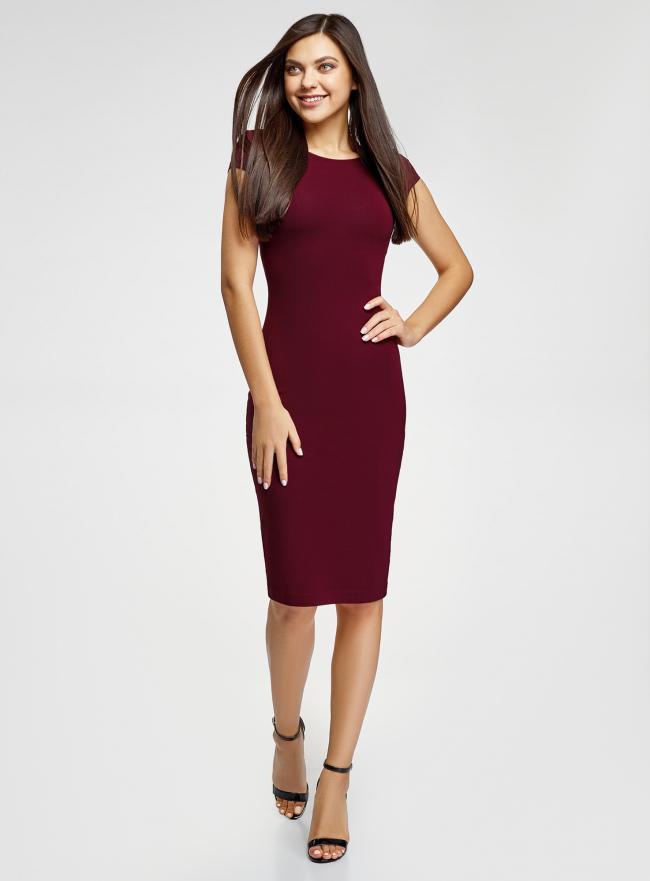 Платье миди с вырезом на спине oodji для женщины (красный), 24001104-5B/47420/4900N