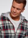 Рубашка клетчатая с капюшоном oodji #SECTION_NAME# (разноцветный), 3L310170M/48840N/1245C - вид 4
