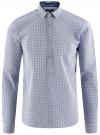 Рубашка приталенного силуэта принтованная oodji #SECTION_NAME# (синий), 3L110260M/19370N/7975G