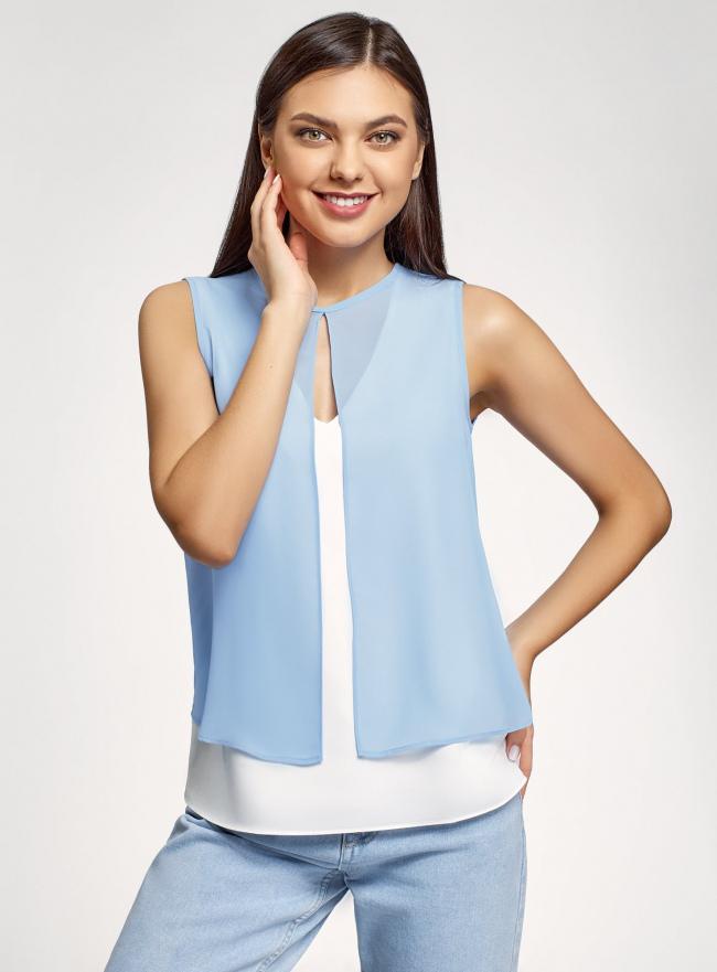 Блузка двуцветная многослойная oodji #SECTION_NAME# (белый), 14901418/46123/1202B