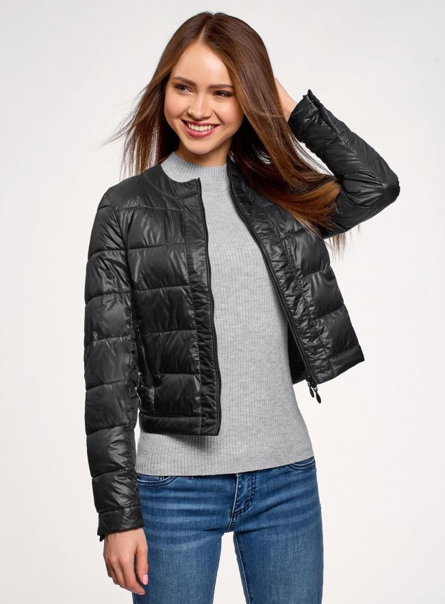 Куртка стеганая с круглым вырезом oodji для женщины (черный), 10203050-2B/47020/2900N