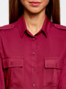 Блузка базовая из вискозы с нагрудными карманами oodji #SECTION_NAME# (красный), 11411127B/26346/4900N - вид 4
