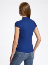 Рубашка с коротким рукавом из хлопка oodji для женщины (синий), 11403196-1/18193/7500N