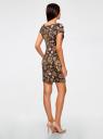 Платье трикотажное с цветочным принтом oodji для женщины (черный), 14001117-8/15640/2955F