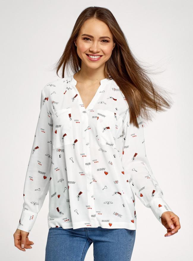 Блузка вискозная с нагрудными карманами oodji #SECTION_NAME# (белый), 11411201/24681/1229O