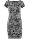 Платье трикотажное принтованное oodji #SECTION_NAME# (черный), 14001117-7/16564/2912O