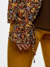 Блузка из комбинированных тканей с модными манжетами oodji #SECTION_NAME# (черный), 11411119/17288/2952F - вид 5
