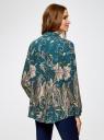 Блузка из вискозы с принтом oodji #SECTION_NAME# (зеленый), 21411144-4/26346/6C68E - вид 3