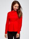 Блузка хлопковая с баской oodji #SECTION_NAME# (красный), 13K00001-1B/42083/4500N - вид 2