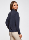 Блузка из струящейся ткани с воланами oodji #SECTION_NAME# (синий), 21411090/36215/7912D - вид 3