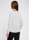 Блузка из струящейся ткани с контрастной отделкой oodji #SECTION_NAME# (белый), 11411059/43414/1029K - вид 3
