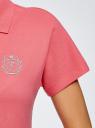 Поло на молнии с вышивкой oodji для женщины (розовый), 19308002-1/48433/4D00P
