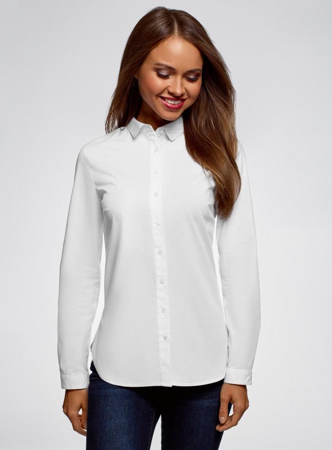 Рубашка хлопковая с принтованным воротником oodji #SECTION_NAME# (белый), 13K03012/48462/1000B