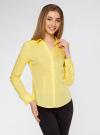 Рубашка приталенная с V-образным вырезом oodji #SECTION_NAME# (желтый), 11402092B/42083/6700N - вид 2