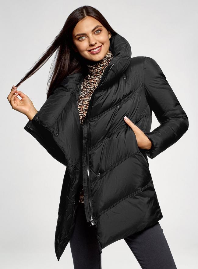 Куртка стеганая с объемным воротником oodji #SECTION_NAME# (черный), 10200079/32754/2900N