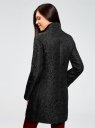 Пальто прямого силуэта из фактурной ткани oodji #SECTION_NAME# (черный), 10104043/43312/2900N - вид 3