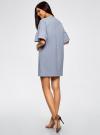 Платье прямого силуэта с воланами на рукавах oodji для женщины (синий), 14000172B/48033/7000M - вид 3