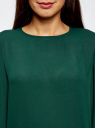 Блузка свободного силуэта с вырезом-капелькой на спине oodji #SECTION_NAME# (зеленый), 11411129/45192/6C00N - вид 4
