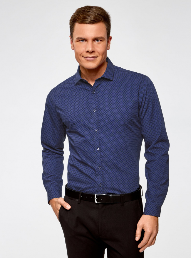 Рубашка хлопковая в мелкую графику oodji для мужчины (синий), 3L110303M/44425N/7579G