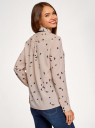 Блузка свободного силуэта из струящейся ткани oodji для женщины (бежевый), 11401282/49474/3329O