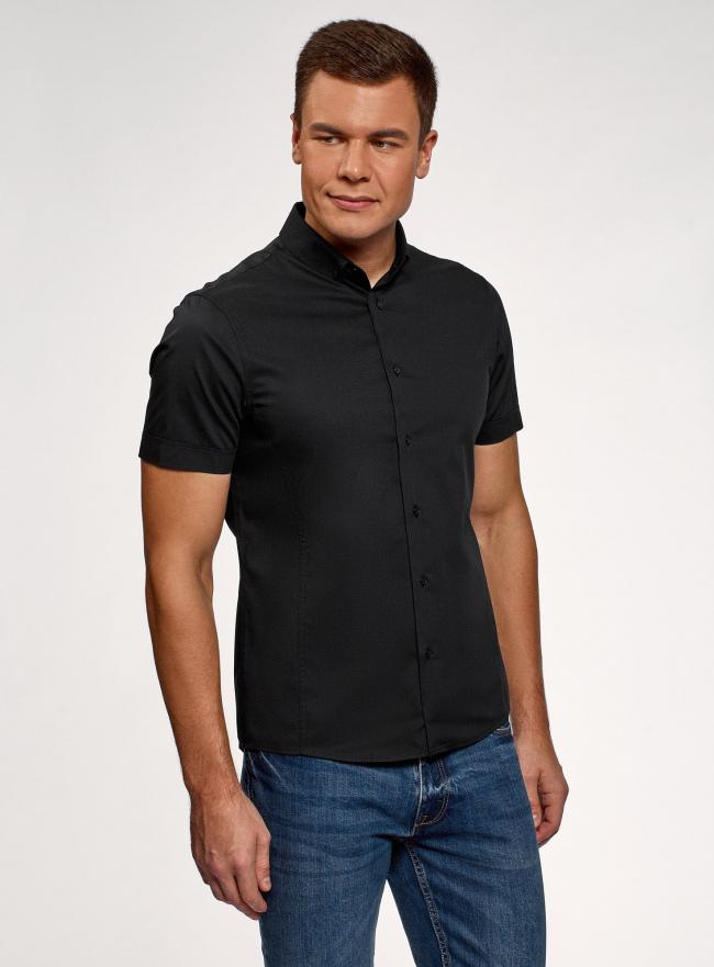 Рубашка базовая с коротким рукавом oodji #SECTION_NAME# (черный), 3B240000M/34146N/2900N